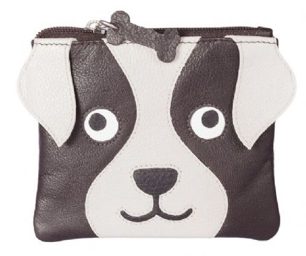 Leather Bailey the Dog Dark Brown Coin Purse